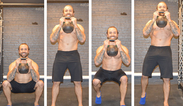 KETTLEBELL SQUATS WITH OVERHEAD PRESS